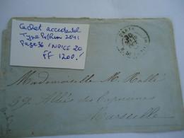 FRANCE COVER  1865  POSTMARK  LYON  MARSEILLE-PARIS - Unclassified