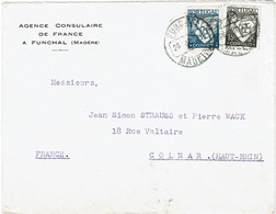 CTN74 - PORTUGAL  LETTRE DE L'AGENCE CONSULAIRE DE FRANCE A FUNCHAL (MADERE) 26/7/1938 (?) - Postmark Collection