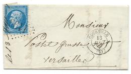 N° 22 BLEU NAPOLEON SUR LETTRE / COURVILLE POUR VERSAILLES / 1864 / LAC / VERSO CAD 1E DISTRIBUTION - 1849-1876: Klassieke Periode