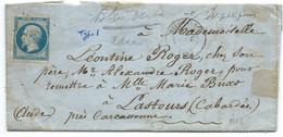 N° 14 BLEU NAPOLEON SUR LETTRE / RIVESALTES POUR LASTOURS / 30 SEPT 1861 - 1849-1876: Klassieke Periode