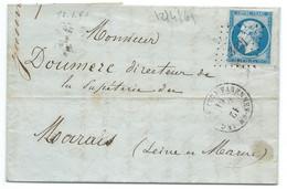 N° 14 BLEU NAPOLEON SUR LETTRE / VARENNES EN ARGONNE POUR MARAIS / 12 JANV 1861 / PC 3491 IND 5 - 1849-1876: Klassieke Periode
