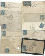 SP LOT DE 10 ENVELOPPES AVEC SAGE / NEVERS A LA ROCHELLE / ROANNE/ AUXERRE / PARIS16 / TOUCY - 1849-1876: Klassieke Periode