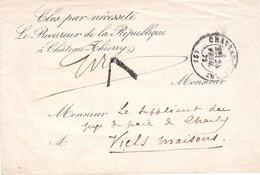 LSC Procureur Château-Thierry 24 Avril 1872 Pour Viels Maisons Paraphe Et Tampon V De Vérification De La Franchise - Burgerlijke Brieven Zonder Portkosten