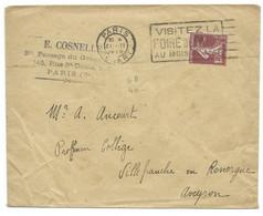 15c SEMEUSE SUR ENVELOPPE / PARIS DEPART POUR VILLEFRANCHE AVEYRON 1928 - 1921-1960: Modern Tijdperk