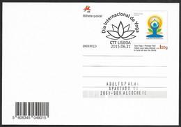 Portugal Carte Entier Postal Journée Mondiale Yoga 2015 Cachet Premier Jour Postal Stationery International Yoga Day Pmk - Postal Stationery