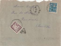 Yvert 257 Jeanne D' Arc Seul Sur Devant Lettre Lettre Taxée St Jean D' Angély Charente Inférieure 7/3/1930à Romorantin - Strafportbrieven