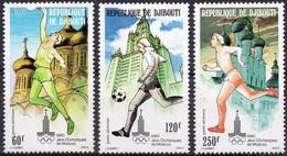 DJIBOUTI :1980: Y.LP/PA 135-37*** Postfris/neufs/MNH : OLYMPICS,MOSCOU 1980,BASKET-BALL,FOOTBALL,RUNNING. - Summer 1980: Moscow