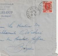 Yvert 325 Exposition Seul Sur Partie Lettre Lettre BRANTOME Dordogne 27/10/1936 Pour Béziers Hérault Verso Cachet Flamme - 1921-1960: Modern Tijdperk