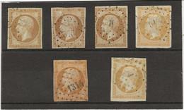 NAPOLEON III N° 13 NON DENTELES - 6 EXEMPLAIRES AVEC PETITS DEFAUTS -COTE : 120 € - ANNEE 1853 - 1853-1860 Napoleon III