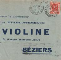 Yvert 325 Exposition Seul Sur Partie Lettre Lettre PERIGUEUX GARE Dordogne 26/10/1936 Pour Béziers Hérault Verso Flamme - 1921-1960: Modern Tijdperk