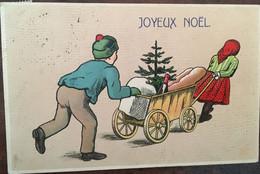 Cpa, écrite, Gaufrée, éd K.F S2RIE 3155? Joyeux Noël, Enfants Poussant Et Tirant Chariot Avec Sapin, Bouteille Etc, - Sonstige