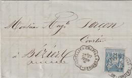 Yvert 90 Sage Lettre De Pézènes Cachet Ambulant Convoyeur Montpellier Chaptal à Béziers 22/6/1885 Pour Béziers Hérault - Spoorwegpost