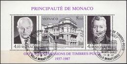MONACO Bloc 39 FDC 1er Jour Du 13 Novembre 1987 : Rainier III Et Louis II OMTP - Blocs