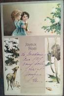 Cpa, écrite En 1917/1918, Gaufrée, Joyeux Noël, Illustration Enfants, Biche, Paysage - Sonstige