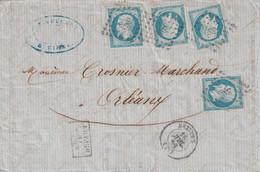Yvert 14 4 ( Tous Avec 4 Belles Marges ) Béziers Hérault 16/7/1858 PC 289 Pour Orléans Loiret - 1849-1876: Klassieke Periode