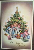 Cpa,cpsm,  édition Photochrom 473, JOYEUX NOËL, Sapins Enfants, Cadeaux, Poupée, Peluches (chien Ours), écrite - Sonstige