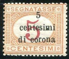 TRENTO E TRIESTE 1919 SEGNATASSE 5 C. SU  5 C. CIFRE DISALLINEATE ** MNH CAT. SASSONE 1 Faa - Trento & Trieste