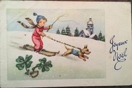 Cpa, édition JLP Charme 919, Joyeux Noël, Paillettes, Enfant Fillette Sur Skis Tirée Par Son Chien, Trèfles, Paysage - Sonstige