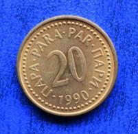 YUGOSLAVIA  20 PARA 1990 VF СФР ЈУГОСЛАВИЈА - Yugoslavia