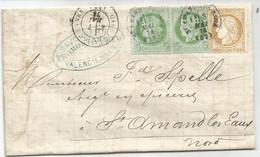 N°53 PAIRE +55 LETTRE VALENCIENNES NORD OBLITERATION EN ARRIVEE TYPE 16 ST AMAND DES EAUX 8 MAI  1874 LETTRE - 1849-1876: Klassieke Periode