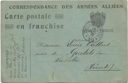 CARTE FM DES ARMEES ALLIES TRESOR ET POSTES 30 15 JUIL 1915 POUR HERAULT - Militaire Kaarten Met Vrijstelling Van Portkosten