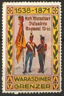 Hussar Soldier 1871 Infantry Regiment Label Cinderella Vignette Croatia Varazdin KuK Hungary Austria Military Flag - Croatia