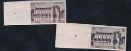 FRANCE - CHÂTEAU DE CHENONCEAUX - 15 F BRUN-LILAS - 25 F NOIR - NON DENTELES - BORD DE FEUILLE - Unused Stamps