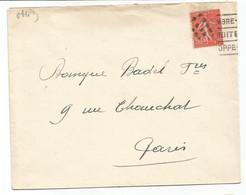 SEMEUSE 50C LIGNEE ANNULATION GRILLE DE PONTS LETTRE POUR PARIS - 1921-1960: Modern Tijdperk