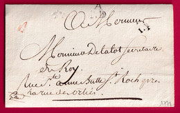 PARIS PETITE POSTE REMISE AU BOITIERS  A82 EN ROUGE QUANTIEME 14 + APD 1771 CACHET FACTEUR AU DOS - 1701-1800: Voorlopers XVIII