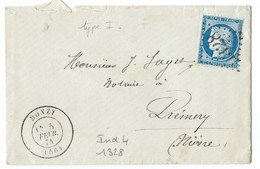 N° 60 BLEU CERES SUR LETTRE / DONZY NIEVRE POUR PREMERY / GC 1328 IND 4 / 1874 - 1849-1876: Klassieke Periode