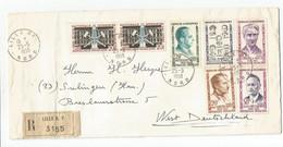 SERIE RESISTANCE 15FR A 30FR +20FR DES MINESX2 LETTRE REC LILLE RP 25.5.1959 POUR ALLEMAGNE - 1921-1960: Modern Tijdperk