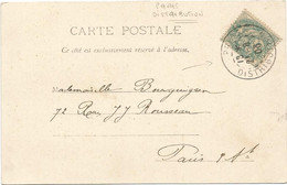 BLANC 5C PARIS DISTRIBUTION 21.9.03 SUR CARTE VIENNOISE - 1877-1920: Semi-moderne Periode