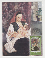 Bulgaria Bulgarian Art 1981 Maximum Maxi Card MK Woman Breastfeeding Baby Carry (17797) - Briefe U. Dokumente