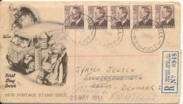Australia Registered FDC 23-5-1951 New Postage Stamps With Cachet Sent To Denmark - FDC