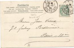 BLANC 5C PARIS DISTRIBon 26.11.03 SUR CARTE VIENNOISE - 1877-1920: Semi-moderne Periode