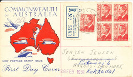 Australia Registered FDC 28-2-1951 New Postage Stamps With Cachet Sent To Denmark - FDC