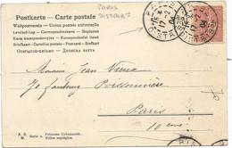 SEMEUSE 10C LIGNEE  PARIS DISTRIBon 17.2.034 SUR CARTE VIENNOISE - 1877-1920: Semi-moderne Periode