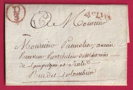 PARIS PETITE POSTE REMISE AU FACTEUR D3 EN ROUGE QUANTIEME 16 SANS TEXTE - 1701-1800: Voorlopers XVIII