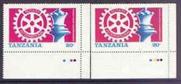 Tanzania 1986 World Chess/Rotary 20s U/M Marginal Single With Yellow Omitted Plus Matched Normal (SG 461var)* - Tanzania (1964-...)