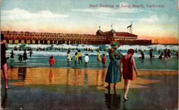 California Long Beach Surf Bathing With Pier In Background - Long Beach