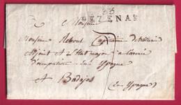MARQUE 33 PEZENAS HERAULT 1824 POUR ETAT MAJOR ARMEE ESPAGNE BADAJOS 1824 BADAJOZ - 1801-1848: Voorlopers XIX
