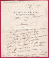 LETTRE AUTOGRAPHE DU CONTRE AMIRAL LE BARON DE S HAOUEN MAJOR GENERAL DE LA MARINE BREST 1817 FINISTERE - 1801-1848: Voorlopers XIX