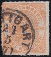 Wurttemberg     .    Michel     .  37   .   Dünne Stelle   (2 Scans)      .   O        .     Gestempelt - Wurttemberg