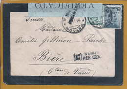 Censored Mourning Letter In Milan To Biere, Switzerland In 1916. World War. Stamp With Rate Surcharge. Novara. Gecensure - WW1 (I Guerra Mundial)