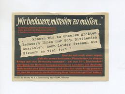 1940 3.Reich  Propagandavignette Parole Der Woche Nr. 5, 50% Dividendenkürzung  Zentralverlag Der NSDAP - Lettres & Documents