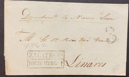 O) 1842 MEXICO, ZACATECAS,  NUEVO LEON DEPARTMENT, 3 Reales STRIKE LARGE  IN  BLACK CANCELLATION OF DOUBLE LINE BOX, CIR - Mexique