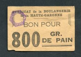 """WWII Jeton-carton De Nécessité Toulouse """"Bon Pour 800gr De Pain - Syndicat De La Boulangerie De La Haute-Garonne"""" - Monétaires / De Nécessité"""