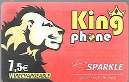 CARTE-PREPAYEE-SPARKLE-7,5€-RECHARGEABLE-KINGPHONE-LION-31/12/2009-R°Brillant-Nom Pays-N°Série-CodeFin-BE - Altre Schede Prepagate