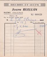 PLEMY JOSEPH RUELLAN BEURRE ET OEUFS ANNE 1956 PETITE FACTURE - Non Classificati