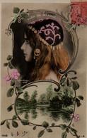 Vraie Photo-montage, Coloré : REUTLINGER . Profil Et Chapeau à Sequins : CLEO DE MERODE - Frauen